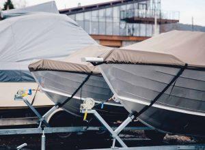 stock photo boat storage facility power boats shrink wrapped